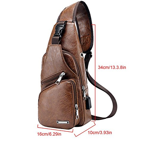 With Usb For Shoulder Charging Chest Port Men Headphone Hole And Brown Leather Messenger Multipurpose Sling Leegoal Crossbody Outdoor Bag Bag qSzPxvT