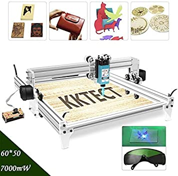 0.01mm Accuracy Laser Engraving Machine 7000mw Large Area Engraver Kits DIY CNC 7W USB Upgraded 2 Axis Desktop Printer Used As Carving Engraving Cutting Machine for Leather Wood Plastic