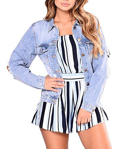Corto Giubbino Lunghe Jeans Di Giacca Denim Blu Per A Giacche Donna Maniche EHZqnH