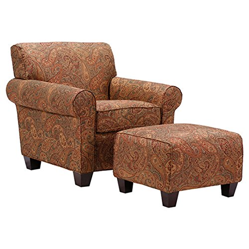 Portfolio Mira 8- Way Hand-tied Paisley Arm Chair and Ottoman by Handy Living