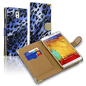 Horizontal EXCLUSIVE DIAMOND Flap Pouch w/ Credit Card Pockets Compatible With Samsung Galaxy Note 3 N9000, Blue Leopard ECFHP