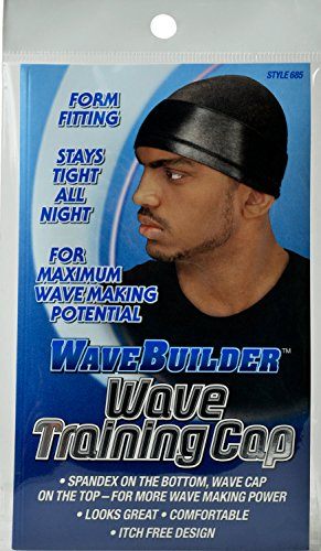 (WaveBuilder Wave Training Cap | Form Fitting Spandex for Maximum Wave Making Potential, Black)