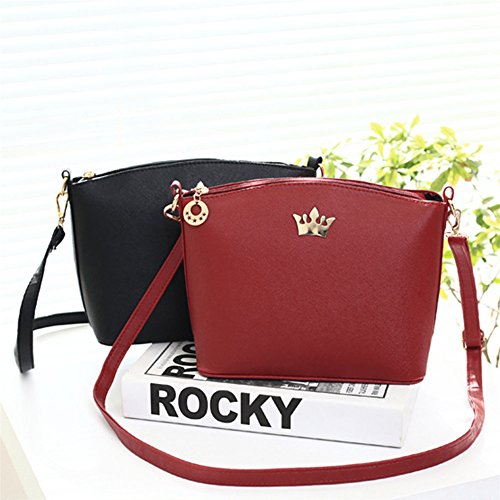 Leather Fashion Body Black Women size Bag Beige Medium Shoulder Messenger dragonaur Faux Cross Crown 4Tnt1qqWf