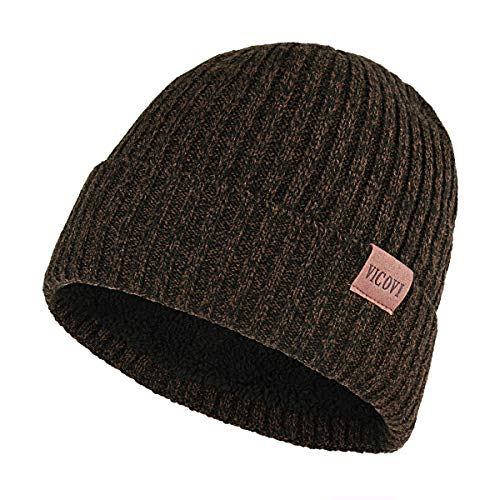 VICOVI Winter Knit Beanie Hats for Men and Women Warm Fleece Stretch Slouchy Skull Cap Brown