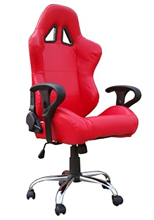 Red Racing Office Chair Bucket Seat