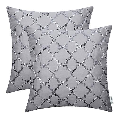 (CaliTime Pack of 2 Faux Silk Throw Pillow Covers Cases for Sofa Couch Home Decoration 18 X 18 Inches Gradient Quatrefoil Accent Geometric Chain Embroidered Gray)