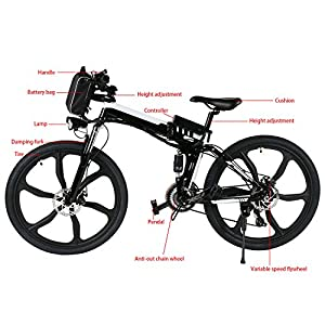 Kemanner 26 inch Electric Mountain Bike 21 Speed 36V 8A Lithium Battery Electric Bicycle for Adult (Black.-(Fold-Upgrade))