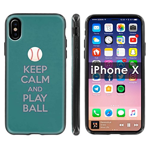 [Mobiflare] TPU Silicone Phone Case FIT Apple i-Phone X [Black] Ultraflex Thin Gel Phone Cover [SCREEN PROTECTOR INCLUDED] - [Play Ball - Seattle]