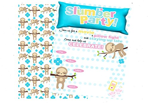 Sloth Trendy Themed Slumber Party Supply Invitation (12 included) with Envelopes