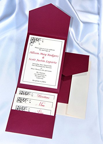 All-in-One Pocket Invitation Kit - Burgundy Elegance - Pack of 20