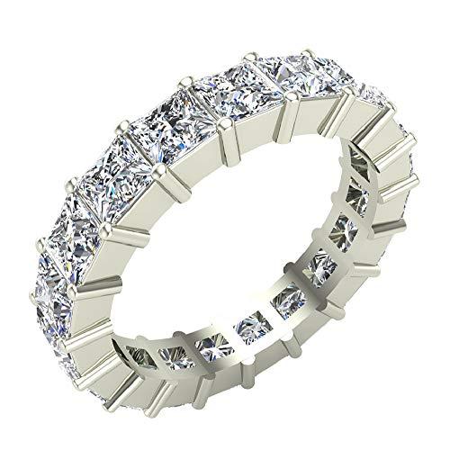 Princess Cut Eternity Diamond Shank & Eternity Wedding Band Ring 7.38 Carat Total Weight 14K White Gold Center ¾ Carat (Ring Size 5)