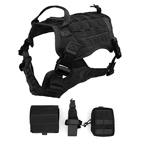 Ultrafun Tactical Dog Harness with Patches Pouches Handle, Molle Vest for Dogs (BK, XL) ()