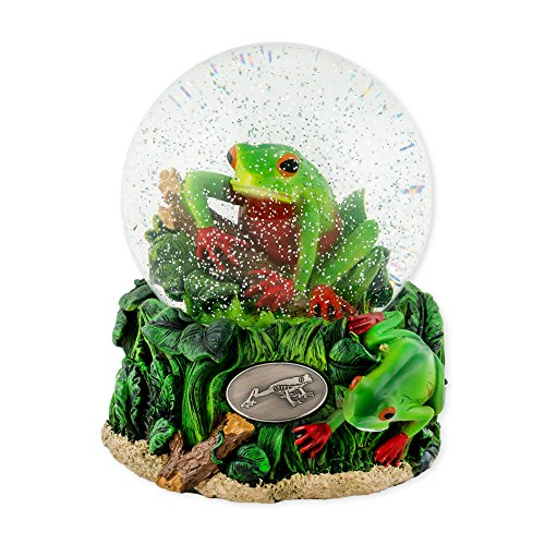 (Playful Tree Frog 100mm Resin Glitter Water Globe Plays Tune Somebody Loves Me)