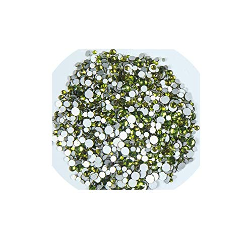 meet-you Mix Sizes 1440Pcs/Pack Crystal Clear Nail Art Rhito For Nails 3D Nail Art Decoration,Olivine