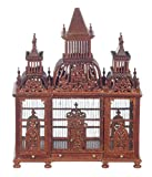 Dollhouse Miniature Victorian Hand Carved Bird Cage with Birds by JBM