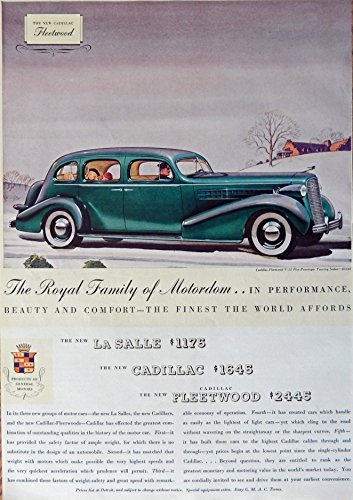 The Royal Family of Motordom...1935 Cadillac, LaSalle, Fleetwood 30's Print Ad. Color Illustration (Caddillac Fleetwood V-12 Touring Sedan $3145) original vintage 1935 Esquire Magazine Art - Olds Touring Sedan