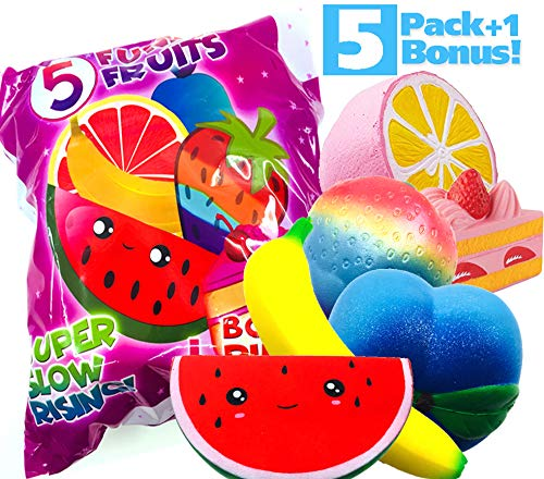6-Pack Prime Slow Rising Fruit Squishes - Kawaii Watermelon, Pink Grapefruit, Cosmic Berry, Groovy Peach, Jumbo Banana + Bonus Cake - Stress and Anxiety Relief Wrist Toys