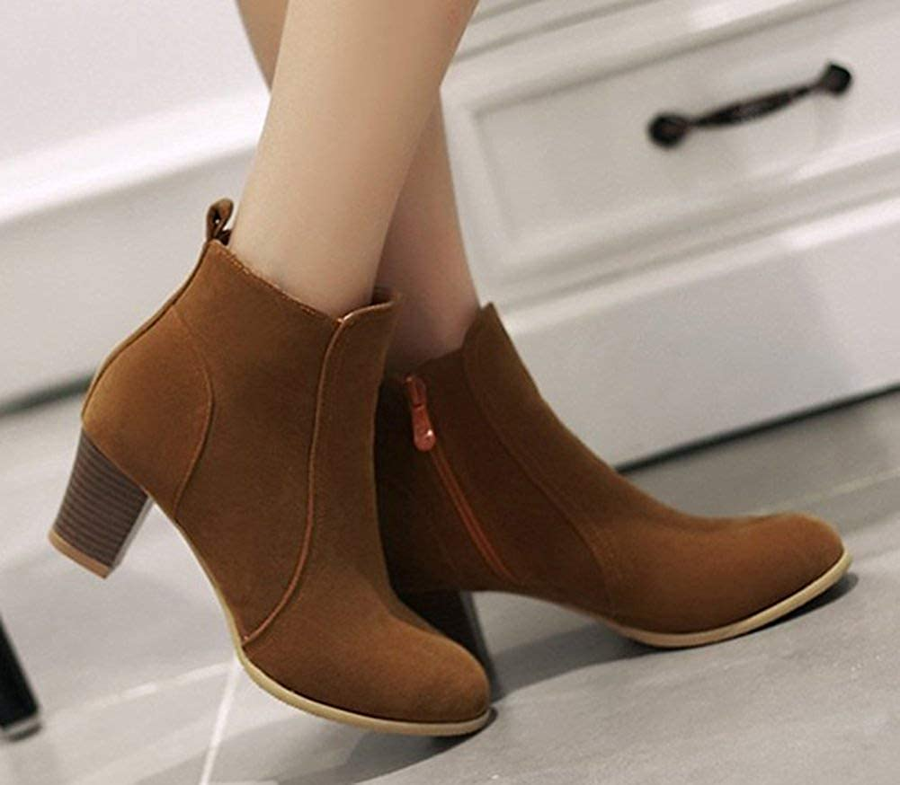 Womens Simple Pointed Toe Side Zipper Dress Stacked Medium Heels Ankle Boots Shoes