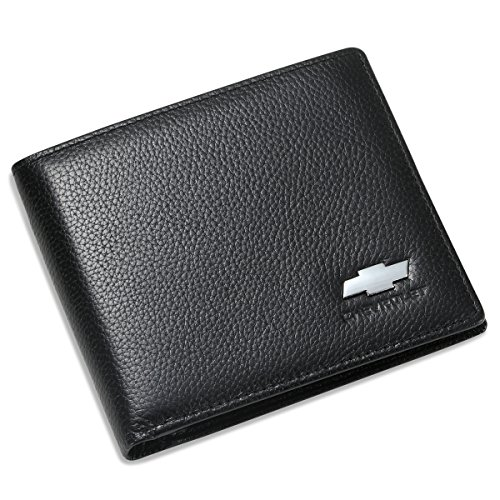 Chevrolet Bifold Wallet with 3 Credit Card Slots and ID Window - Genuine Leather from Leather Wallets