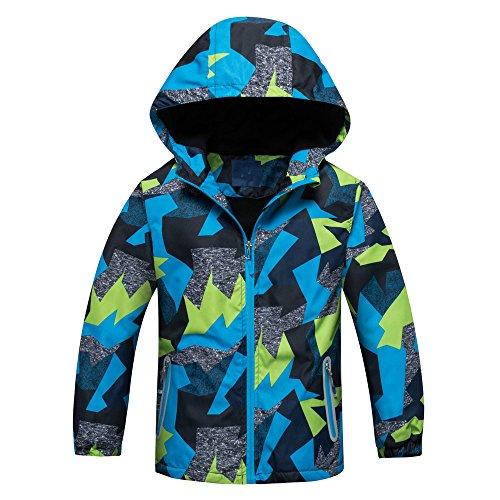 Star Flower Boys Rain Jackets Waterproof with Hood Outwear (8, Blue-3) -