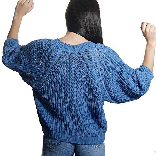 JUANA LA LOCA AND THE VICTORIANS - Mujeres Jersey de Manga Larga Cuello V Suéter Perlado Punto Basico Azul