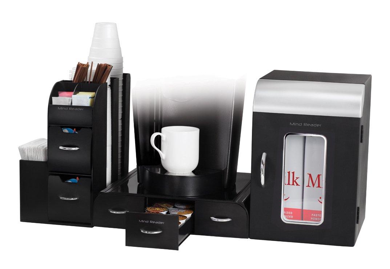 Mind Reader Breakroom 3-Piece Mini Fridge and Coffee Station Set, Black