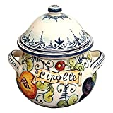 CERAMICHE D'ARTE PARRINI- Italian Ceramic Onions Jar Holder Hand Painted Made in ITALY Tuscan Art Pottery