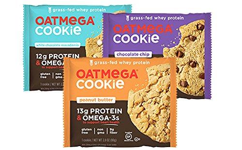 Oatmega Grass Fed Whey Protein Cookies 12 Packs (3 Flavor Sampler Pack)