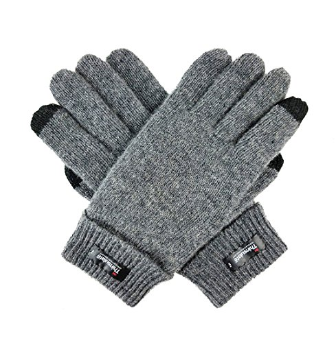 (Bruceriver Ladie's Wool Knit Gloves with Thinsulate Lining Size S (Grey Touchscreen))