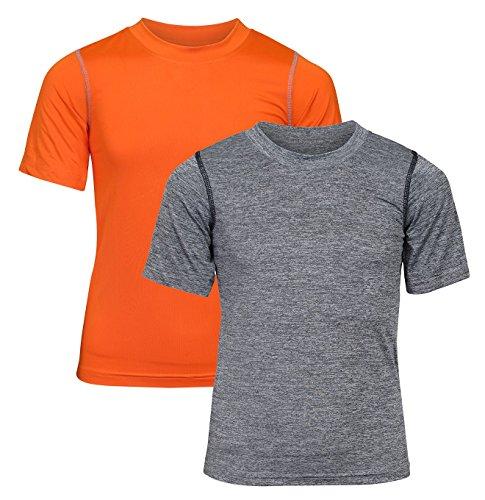 'Black Bear Boys\' Performance Dry-Fit T-Shirts, Grey and Orange, Large / -