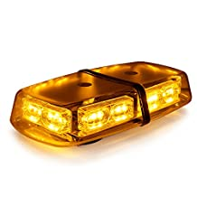 Xprite Amber Yellow 36 LED 18 Watts Hign Intensity Law Enforcement Emergency Hazard Warning LED Mini Bar Strobe Light with Magnetic Base (Amber (Yellow))