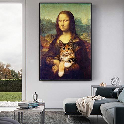 None brand Mona Lisa sosteniendo el Gato Divertido Arte Lienzo Pinturas en la Pared Arte Carteles Impresiones Famosos Cuadros de Arte 50x70cm Sin Marco