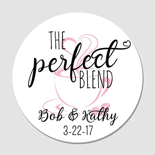 40 Personalized Perfect Blend Wedding Favor Label Stickers - Coffee Favor Tags - Customized Wedding Favor Labels