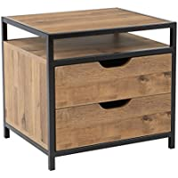 OSP Designs Quinton Nightstand in Salvage Oak Finish with Matte Black Frame, 2-Drawers