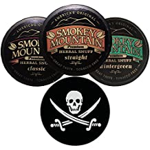 Smokey Mountain Herbal Snuff/Chew Straight, Classic, and Wintergreen - 3ct - Includes DC Skin Can Cover (Jolly Roger Skin)