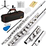 Eastar EFL-1 Closed Hole C Flutes 16 Key Nickel Beginner Flute Set With Carrying Case Stand Gloves Cleaning Rod and Cloth