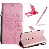 Strap Leather Case for Sony Xperia XZ3,[Rose Gold Solid Color] Stand Flip Case for Sony Xperia XZ3,Herzzer Premium Elegant [Embossed Butterfly Tree Cat Painted] Fold Wallet Folio Smart Case