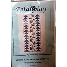 """Petalplay Quilt Pattern - Morning Glory And Flying Geese #126 3-D Appli-bond Technique 20""""x45"""""""