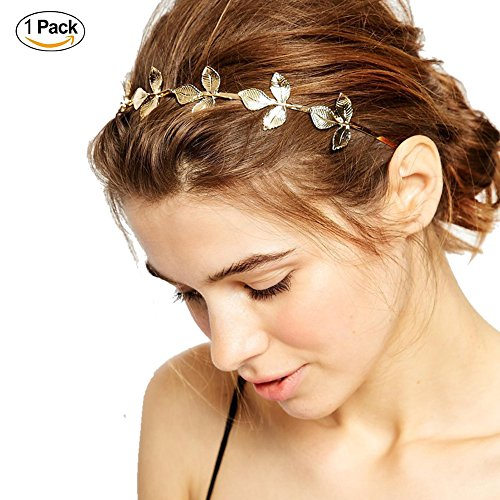 DRESHOW Leaf Golden Metal Headband Bride-bridal Metal Wedding Headband Hair Accessories