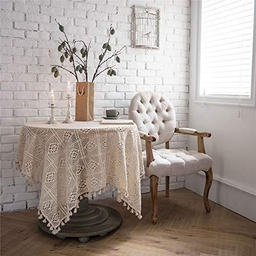 NOBRAND Borla Mantel Pastoral Hecho a Mano Crochet algodon Calado Encaje Mantel Mesa de Comedor Cubierta para Cocina decoracion del hogar