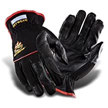 "SetWear Hot Hand, Heat Resistant Leather Gloves, Pair Large (Size 10) Approximatly 4-4.5"" / 10.16-11.43cm, Black/Black"