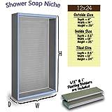 Shower Niche 12x24 Recessed Tile Ready Bathroom Soap Dish Shampoo Shelf Made from Wedi Board Shower Caddy