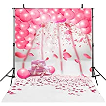 6x8FT Kids Backdrop Photography Birthday Props Pink Balloon Photo Backdrops Baby Birthday Photography Backgrounds Party Computer Printed Photo Backgrounds