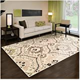 ... Collection Area Rug, 8mm Pile Height With Jute Backing, Beautiful  Floral Scalloped Pattern, Anti Static, Water Repellent Rugs   Beige, 8u0027 X 10u0027  Rug