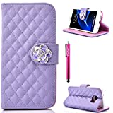 S7 Case, Firefish Premium PU Leather Wallet Durable Soft TPU Interior And Flip Cover Folio Case Protect For Your Samsung Galaxy S7 + One Stylus Pen - Purple