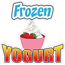 Frozen Yogurt Concession Restaurant Die-Cut Window Static Cling 24 inches Inside Glass