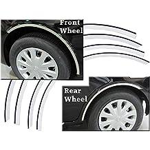 "VERSA 2012-2016 NISSAN (4 Pc: Stainless Steel Wheel Well Accent Trim w/ 3M Adhesive & Black Rubber Gasket - 7/8"" wide, 4-door) WQ12530:QAA"