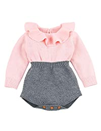 OCEAN-STORE Newborn Baby Girls 0-24 Months Knitted Romper Outfits Clothes