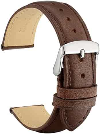WOCCI 20mm Watch Band - Dark Brown Vintage Leather Watch Strap with Silver Buckle (Tone on Tone Stitching)