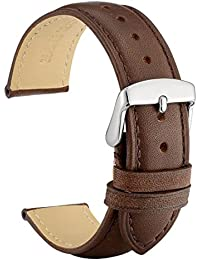 20mm Watch Band - Dark Brown Vintage Leather Watch Strap with Silver Buckle (Tone on Tone Stitching)